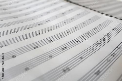 Photo Handwritten music notes, music theory practice