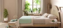 Scandinavian Bedroom Interior With Bed In Pastel Beige And Mint Colors, 3d Rendering