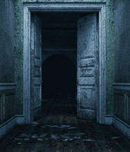 An Old Doors In Abandoned House,3d Rendering.