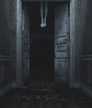 Devil's Legs,3d Illustration Of Dead Body's Legs Hang From The Ceiling Behind The Doors