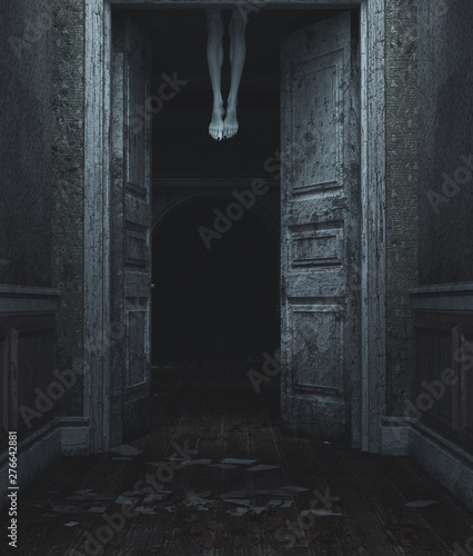 Devil's legs,3d illustration of dead body's legs hang from the ceiling behind th Tablou Canvas