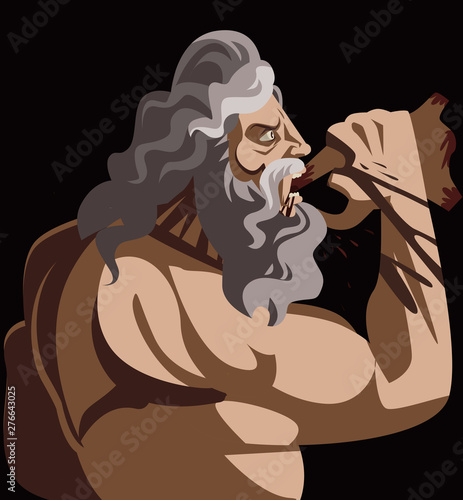 cronos uranus greek mythology god eating zeus baby Canvas-taulu
