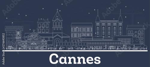 Fototapeta Outline Cannes France City Skyline with White Buildings.