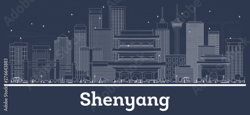 Photo  Outline Shenyang China City Skyline with White Buildings.