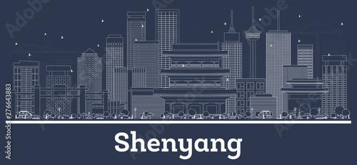 Fototapeta  Outline Shenyang China City Skyline with White Buildings.
