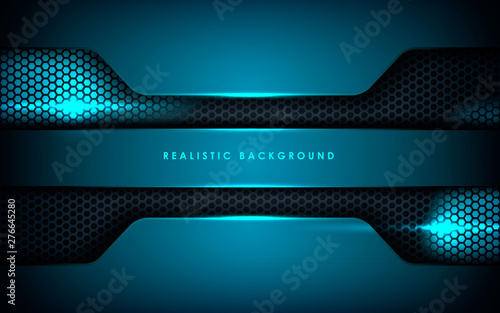 Blue Abstract Dimension On Black Hexagon Background