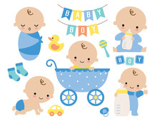 Baby Boy Vector Illustration. Cute Baby Boy In A Stroller And Baby Items Such As Toy, Milk Bottle, Socks, Yellow Duck, Pacifier, Sign.