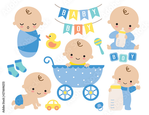 Obraz Baby boy vector illustration. Cute baby boy in a stroller and baby items such as toy, milk bottle, socks, yellow duck, pacifier, sign. - fototapety do salonu