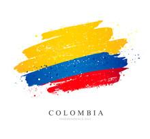 Flag Of Colombia. Brush Stroke...