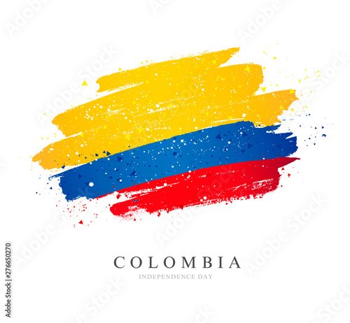 Fotografía  Flag of Colombia. Brush strokes drawn by hand. Independence Day.