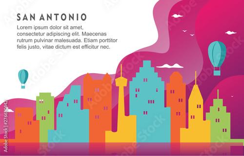 San Antonio Texas City Building Cityscape Skyline Dynamic Background Illustratio Canvas Print