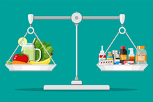 Balance Scales With Vegetables And Drugs. Choice Between Diet Pills And Healthy Food. Vector Illustration In Flat Style