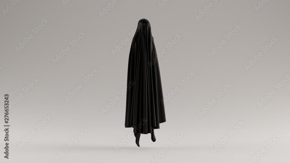 Fototapeta Black Ghost Floating Evil Spirit 3 Quarter View 3d illustration 3d render