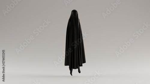 Fotografering Black Ghost Floating Evil Spirit 3 Quarter View 3d illustration 3d render