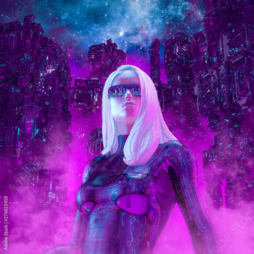 Photo  Neon night heroine / 3D illustration of beautiful blond woman with sunglasses in