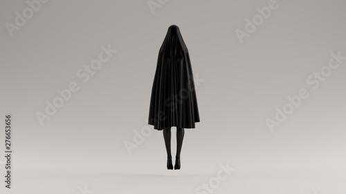 Black Floating Evil Spirit in a Short Death Shroud Sheet 3d Illustration 3d Rend Fototapet