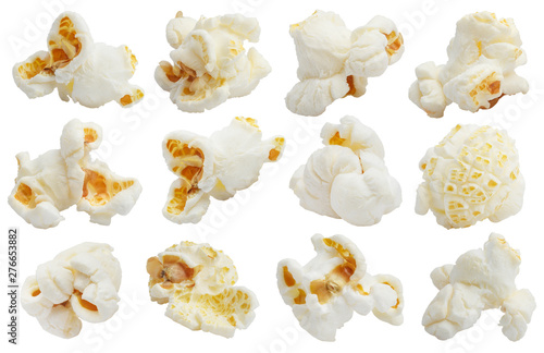 Rich collection of popcorn, isolated on white background