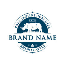 Vintage Rhinoceros Logo Design