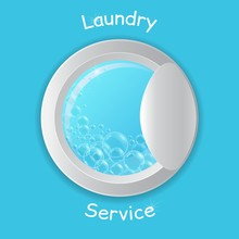 Vector Realistic Washing-machine Door With Soup Bubbles Isolated On Blue Background. Laundry Template. 3D Illustration.