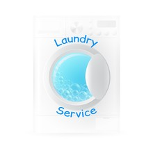 Vector Realistic Washing-machine With Soup Bubbles Isolated On White Background. Laundry Template. 3D Illustration.