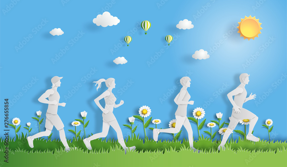 Fototapety, obrazy: Paper art style of landscape with people running, sport and activity concept, flat-style vector illustration.