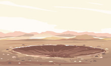 Meteor Crater With Cracks And ...