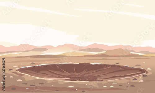 Obraz Meteor crater with cracks and stones at the bottom landscape background, nature disaster deserted place without water and without plants, climate change concept illustration, place of explosion - fototapety do salonu
