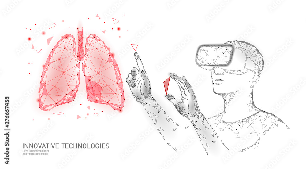 Fototapety, obrazy: Male modern doctor operate human lungs cancer. Virtual reality assistance laser operation. 3D VR headset augmented reality glasses medicine online digital banner vector illustration