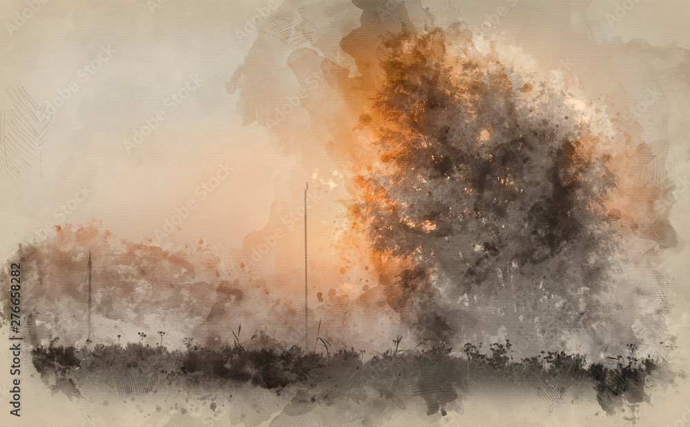 Fototapety, obrazy: Digital watercolor painting of Stunning sunrise glow over foggy river in countryside landscape