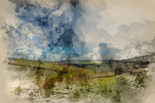 Digital Watercolor Painting Of Stunning English Countryside Landscape Across Rolling Green Hills