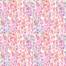Wisteria Flowers Pink Seamless Pattern, Watercolor Illustration