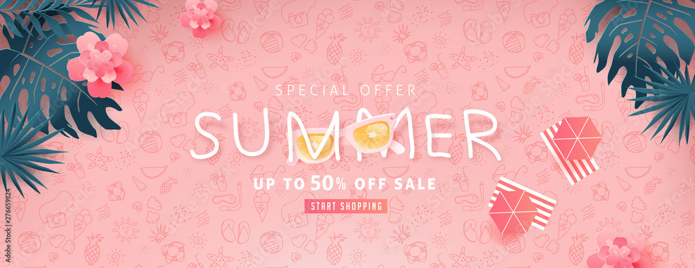 Fototapety, obrazy: Summer sale design with paper cut tropical beach bright Color background layout banners .Orange sunglasses concept.voucher discount.Vector illustration template.