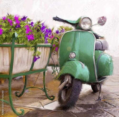 Cuadros en Lienzo Scooter verde con fiori