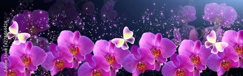 Glowing banner with magic butterflies with mysterious neon orchids and sparkle stars for storefront flowers design or decor florist shop