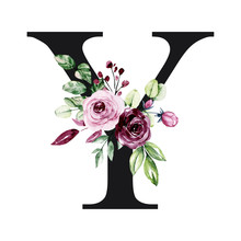 Floral Alphabet, Letter Y With Watercolor Flowers And Leaves. Monogram Initials Perfectly For Wedding Invitation, Birthday, Greeting Card, Logo, Poster And Other Design. Holiday Design Hand Painting.