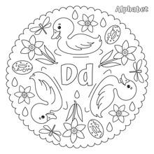 Alphabet D Letter Coloring Pag...