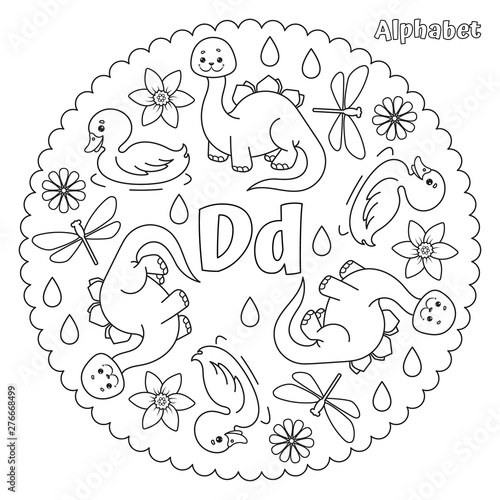 Alphabet D letter coloring page mandala with dinosaur, daisy, duck, dragonfly, daffodil, drops Canvas Print