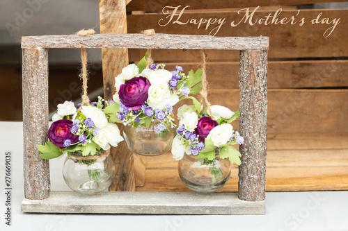 Ressources graphiques pour la fête des mères avec une composition florale de bou Wallpaper Mural