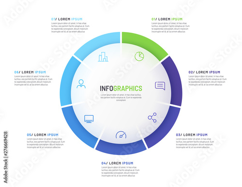 Photo  Pie chart infographic template divided by seven parts