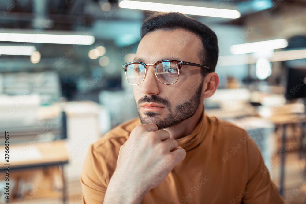 Fototapety, obrazy: Handsome bearded writer wearing glasses feeling excited