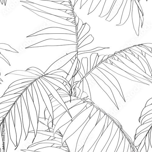 Nature Seamless Pattern Hand Drawn Tropical Summer Background Black Palm Tree Leaves Line Art White Background Buy This Stock Illustration And Explore Similar Illustrations At Adobe Stock Adobe Stock