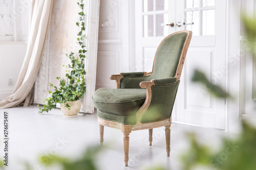 Modern Bright Interior With Stucco Mouldings Walls And A Vintage Armchair Made Of Solid Wood Soft Focus Buy This Stock Photo And Explore Similar Images At Adobe Stock Adobe Stock