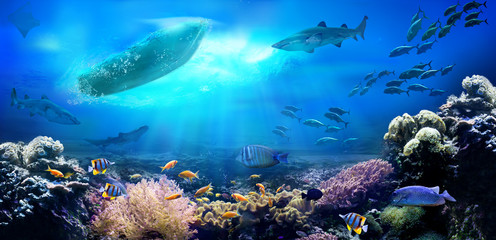 Fototapeta na wymiar Small boat in the ocean. Underwater view. Coral reef.