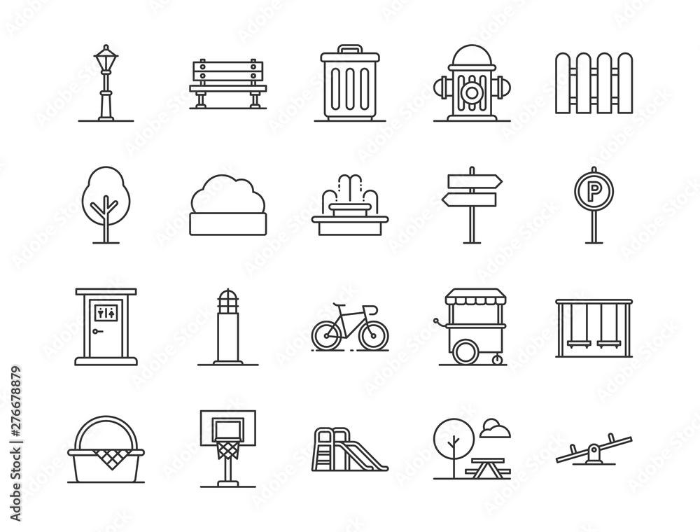 Fototapeta city park icons. Set of city park element icon. Outline style icons