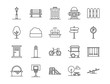 city park icons. Set of city park element icon. Outline style icons