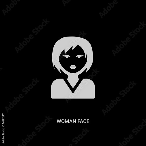 Photo  white woman face vector icon on black background