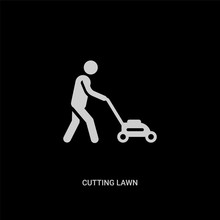White Cutting Lawn Vector Icon...