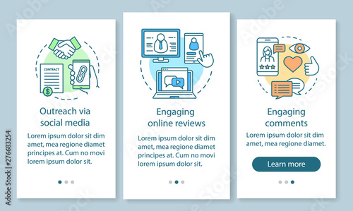 Online PR onboarding mobile app page screen with linear concepts Canvas Print