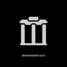 White Brandenburg Gate Vector Icon On Black Background. Modern Flat Brandenburg Gate From Buildings Concept Vector Sign Symbol Can Be Use For Web, Mobile And Logo.