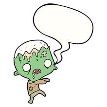 Cute Cartoon Zombie And Speech...